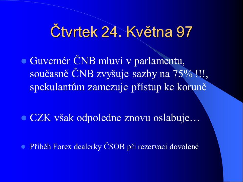Čtvrtek 24. Května 97 Guvernér ČNB mluví v parlamentu, současně ČNB zvyšuje sazby na 75% !!!, spekulantům zamezuje přístup ke koruně CZK však odpoledn