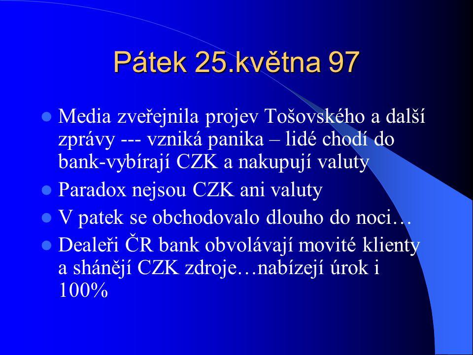 Pátek 25.května 97 Media zveřejnila projev Tošovského a další zprávy --- vzniká panika – lidé chodí do bank-vybírají CZK a nakupují valuty Paradox nejsou CZK ani valuty V patek se obchodovalo dlouho do noci… Dealeři ČR bank obvolávají movité klienty a shánějí CZK zdroje…nabízejí úrok i 100%