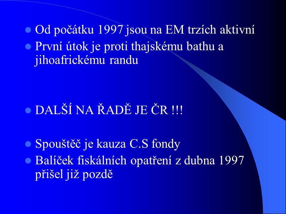 Od počátku 1997 jsou na EM trzích aktivní První útok je proti thajskému bathu a jihoafrickému randu DALŠÍ NA ŘADĚ JE ČR !!! Spouštěč je kauza C.S fond