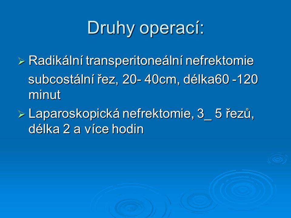 Druhy operací:  Radikální transperitoneální nefrektomie subcostální řez, 20- 40cm, délka60 -120 minut subcostální řez, 20- 40cm, délka60 -120 minut 