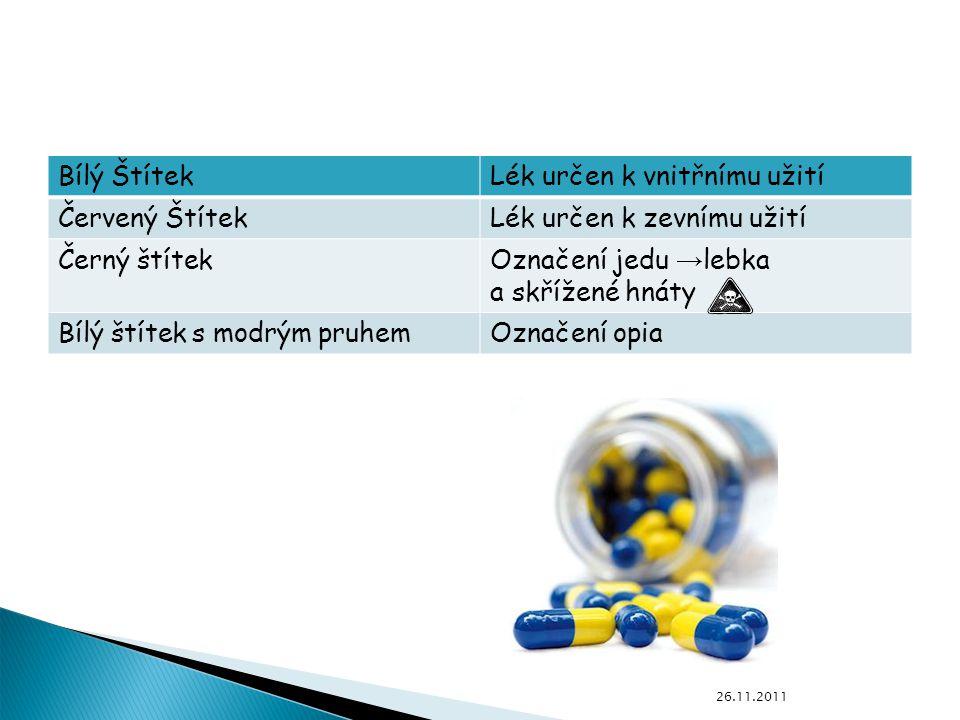 Bílý ŠtítekLék určen k vnitřnímu užití Červený ŠtítekLék určen k zevnímu užití Černý štítekOznačení jedu → lebka a skřížené hnáty Bílý štítek s modrým pruhemOznačení opia