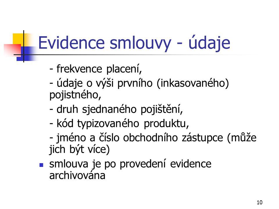 10 Evidence smlouvy - údaje - frekvence placení, - údaje o výši prvního (inkasovaného) pojistného, - druh sjednaného pojištění, - kód typizovaného pro