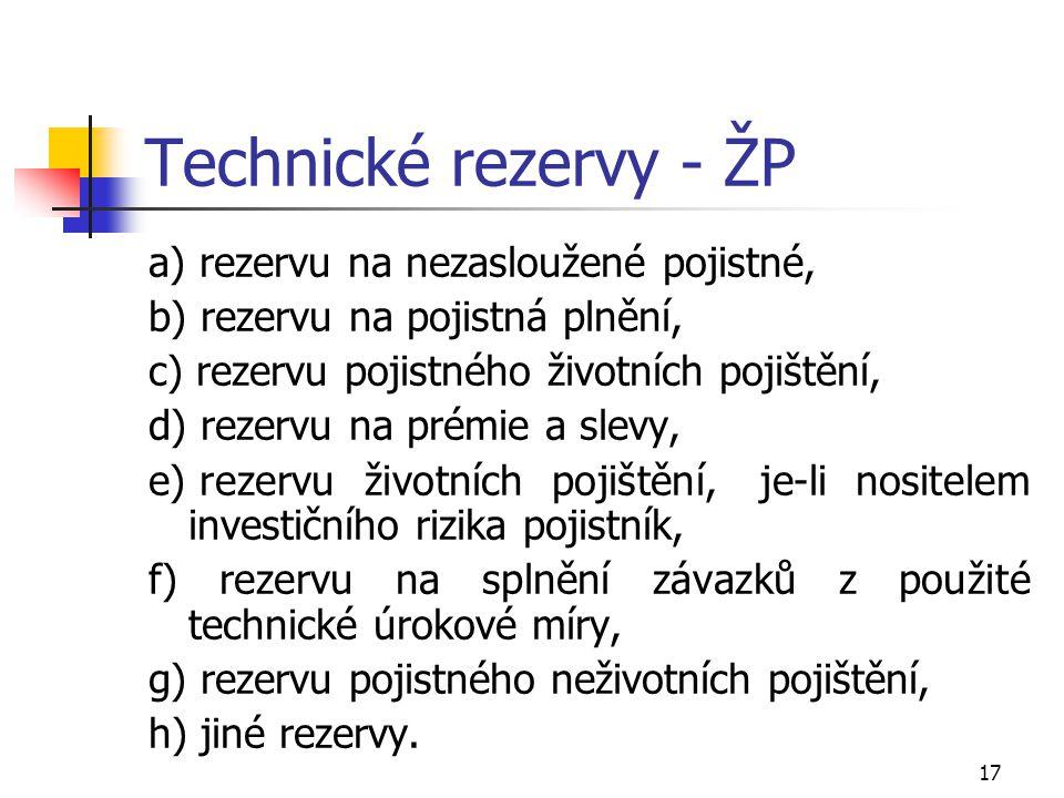 17 Technické rezervy - ŽP a) rezervu na nezasloužené pojistné, b) rezervu na pojistná plnění, c) rezervu pojistného životních pojištění, d) rezervu na