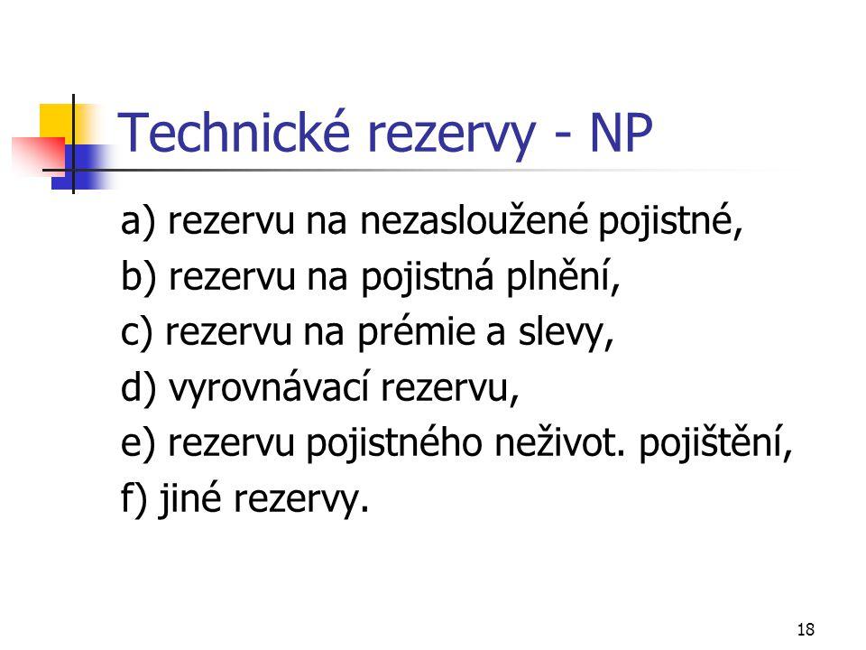 18 Technické rezervy - NP a) rezervu na nezasloužené pojistné, b) rezervu na pojistná plnění, c) rezervu na prémie a slevy, d) vyrovnávací rezervu, e)