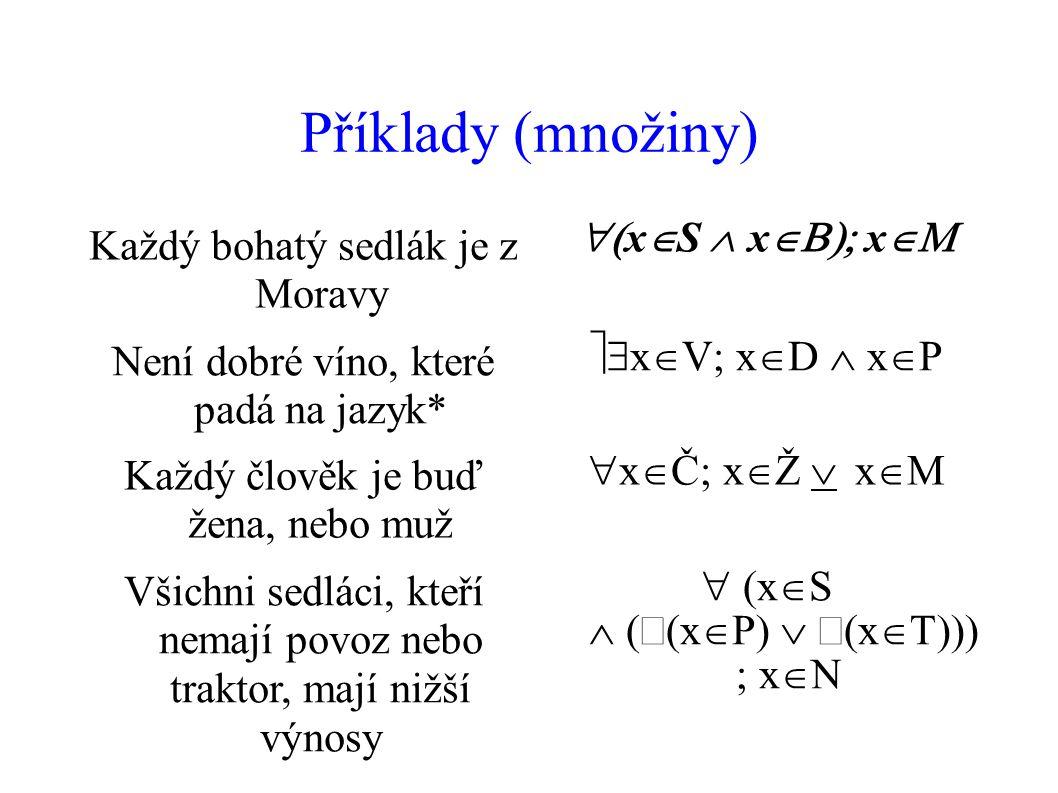 Příklady (množiny) Každý bohatý sedlák je z Moravy  x  S  x  x  Není dobré víno, které padá na jazyk*  x  V  x  D  x  P Každý člověk je buď žena, nebo muž  x  Č  x  Ž    x  Všichni sedláci, kteří nemají povoz nebo traktor, mají nižší výnosy  x  S  x  P  x   x  N