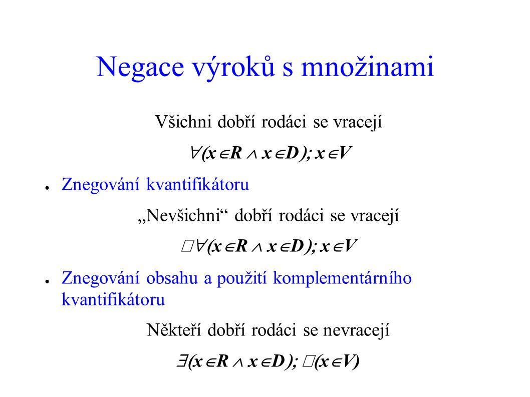Příklady (množiny) Každý bohatý sedlák je z Moravy  x  S  x  x  Není dobré víno, které padá na jazyk*  x  V  x  D  x  P Každý čl