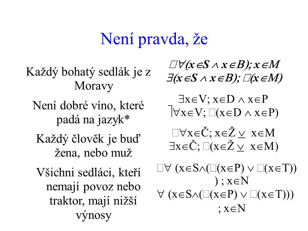Není pravda, že Každý bohatý sedlák je z Moravy  x  S  x  x   x  S  x  x  Není dobré víno, které padá na jazyk*  x  V  x  D  x  P  x  V  x  D  x  P) Každý člověk je buď žena, nebo muž  x  Č  x  Ž  x   x  Č  x  Ž  x  Všichni sedláci, kteří nemají povoz nebo traktor, mají nižší výnosy  x  S  x  P  x   x  N  x  S  x  P  x   x  N