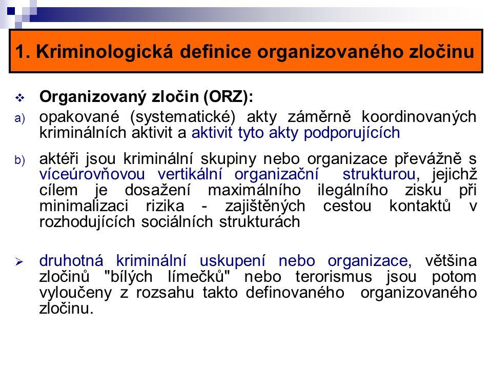 1. Kriminologická definice organizovaného zločinu  Organizovaný zločin (ORZ): a) opakované (systematické) akty záměrně koordinovaných kriminálních ak