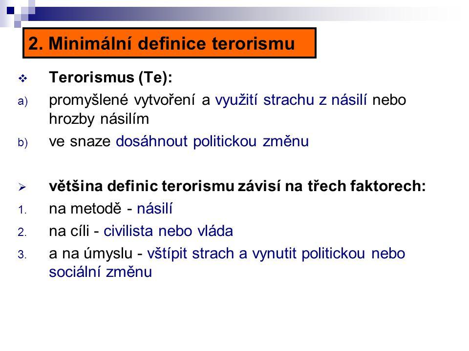 2. Minimální definice terorismu  Terorismus (Te): a) promyšlené vytvoření a využití strachu z násilí nebo hrozby násilím b) ve snaze dosáhnout politi