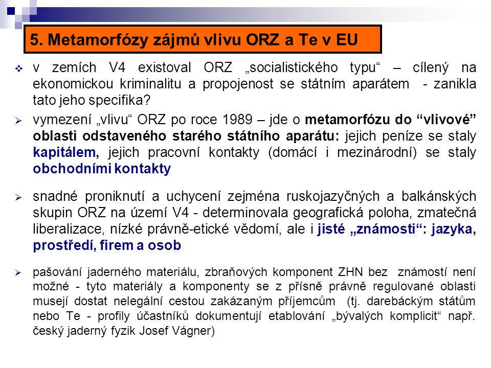 """5. Metamorfózy zájmů vlivu ORZ a Te v EU  v zemích V4 existoval ORZ """"socialistického typu"""" – cílený na ekonomickou kriminalitu a propojenost se státn"""