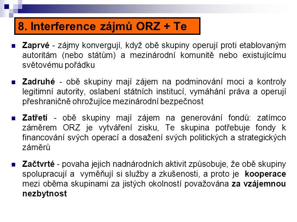 8. Interference zájmů ORZ + Te Zaprvé - zájmy konvergují, když obě skupiny operují proti etablovaným autoritám (nebo státům) a mezinárodní komunitě ne