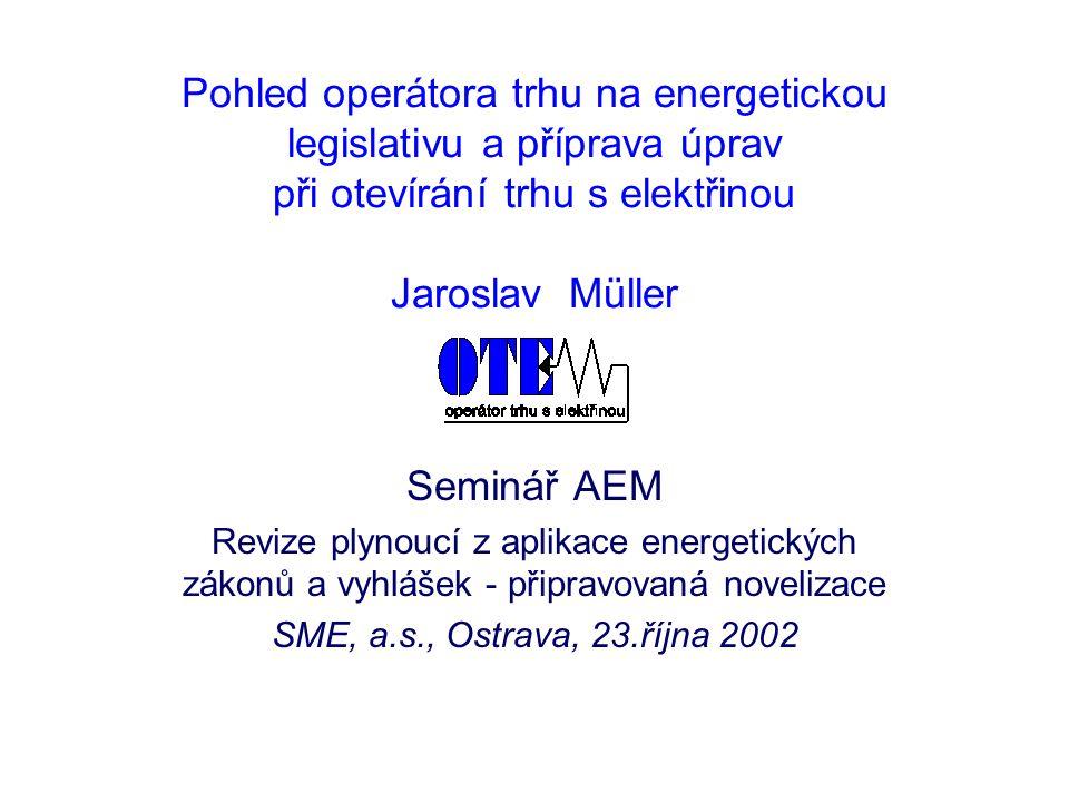 23.10.2002 2 Základní vyhlášky týkající se činnosti OTE  Vyhláška ERÚ č.