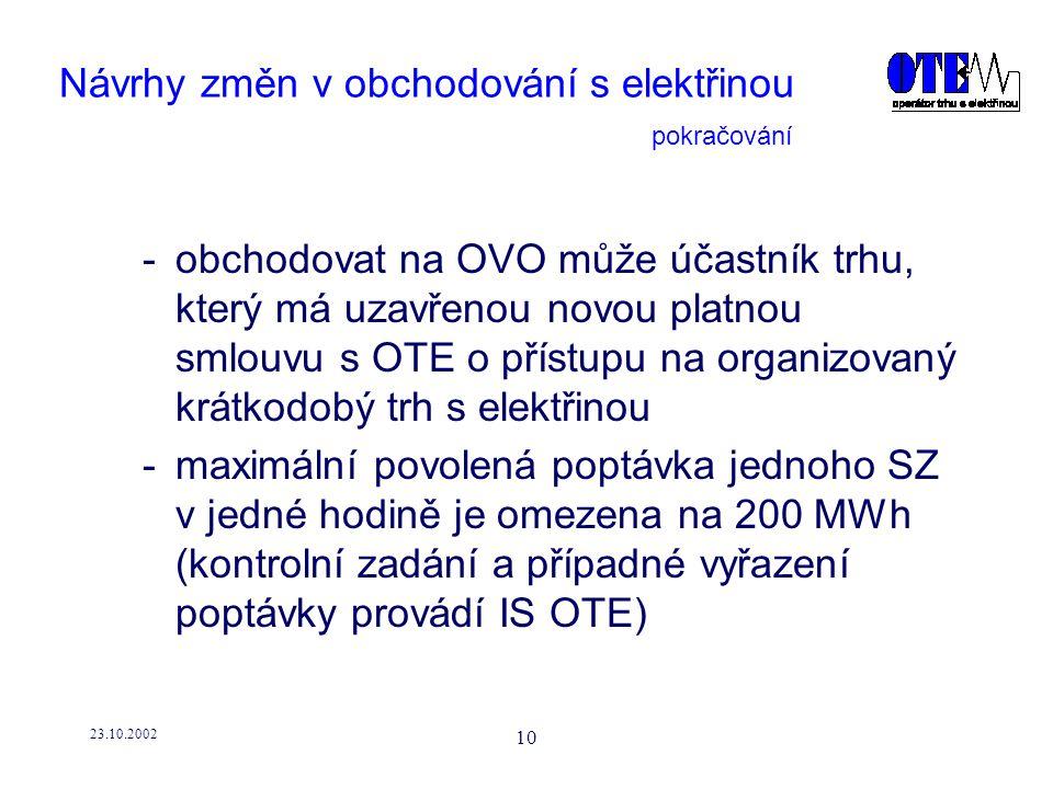 23.10.2002 10 Návrhy změn v obchodování s elektřinou -obchodovat na OVO může účastník trhu, který má uzavřenou novou platnou smlouvu s OTE o přístupu na organizovaný krátkodobý trh s elektřinou -maximální povolená poptávka jednoho SZ v jedné hodině je omezena na 200 MWh (kontrolní zadání a případné vyřazení poptávky provádí IS OTE) pokračování