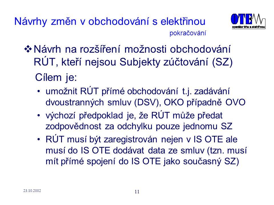 23.10.2002 11 Návrhy změn v obchodování s elektřinou  Návrh na rozšíření možnosti obchodování RÚT, kteří nejsou Subjekty zúčtování (SZ) Cílem je: umožnit RÚT přímé obchodování t.j.