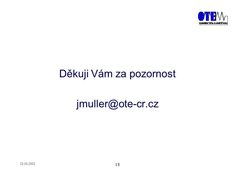 23.10.2002 18 Děkuji Vám za pozornost jmuller@ote-cr.cz
