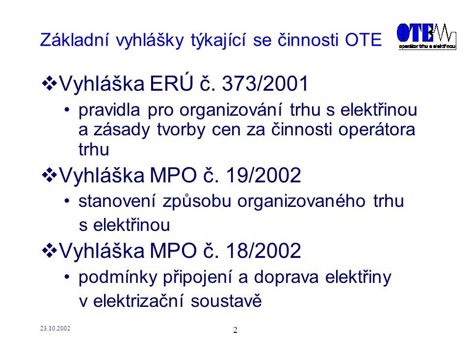 23.10.2002 3 Základní vyhlášky týkající se činnosti OTE  Vyhláška MPO č.