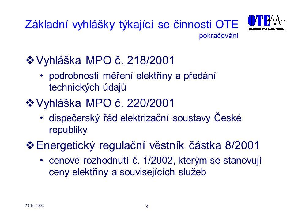 23.10.2002 4 Změny v sekundární legislativě  Výchozí předpoklad OTE navrhujeme změny v sekundární legislativě vycházející z prvních poznatků otevírání trhu s elektřinou od 1.