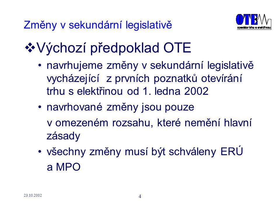 23.10.2002 5 Změny v sekundární legislativě  Postup navrhovaný OTE: určení základních problémových oblastí, které je nutno řešit stanovení zásadních postupů řešení určení zpracovatele návrhu řešení s termínem podání návrhu pokračování