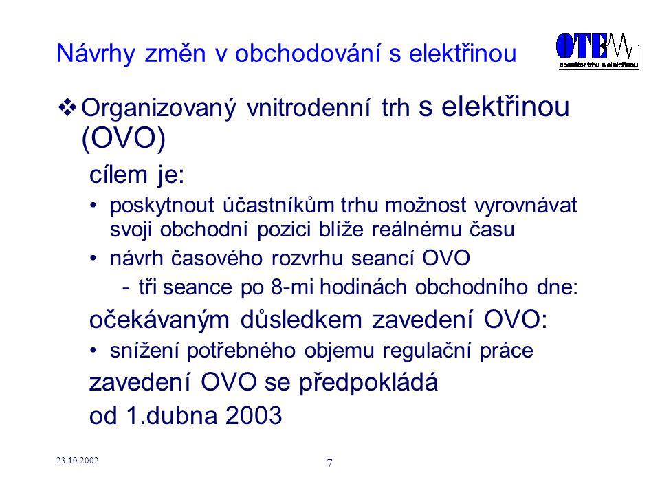 23.10.2002 8 Návrhy změn v obchodování s elektřinou  Organizovaný vnitrodenní trh s elektřinou (OVO) 1.