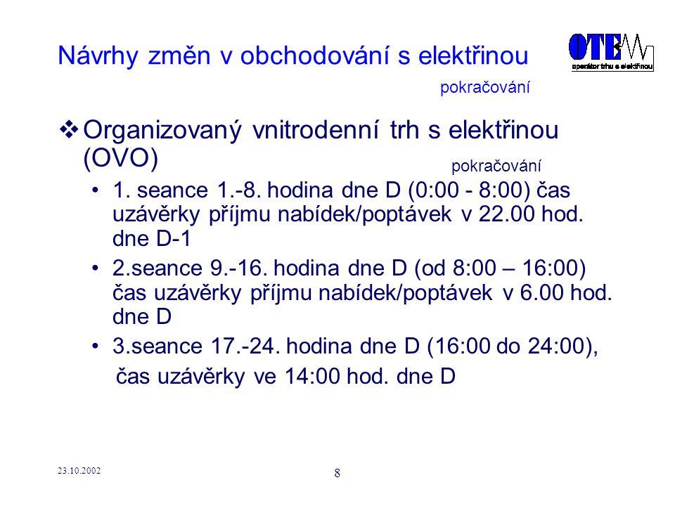 23.10.2002 9 Návrhy změn v obchodování s elektřinou  Organizovaný vnitrodenní trh s elektřinou (OVO) -metodický postup sesouhlasení ceny a zobchodovatelného množství je totožný jako u OKO -finanční vypořádání se provádí jednou denně společně s odchylkami a OKO -utilizace se provádí při každé seanci -obchodování na OVO je pouze pro vnitrostátní trh pokračování
