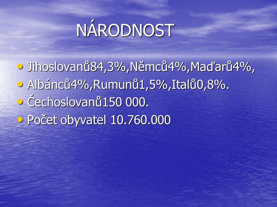 NÁRODNOST Jihoslovanů84,3%,Němců4%,Maďarů4%, Jihoslovanů84,3%,Němců4%,Maďarů4%, Albánců4%,Rumunů1,5%,Italů0,8%.