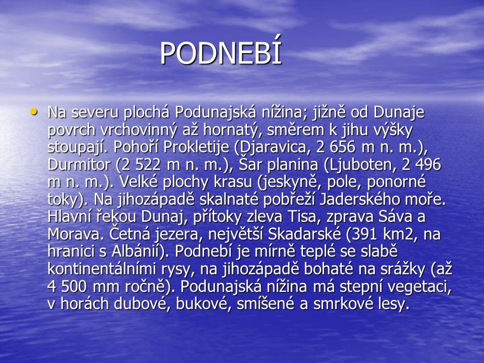PODNEBÍ Na severu plochá Podunajská nížina; jižně od Dunaje povrch vrchovinný až hornatý, směrem k jihu výšky stoupají.