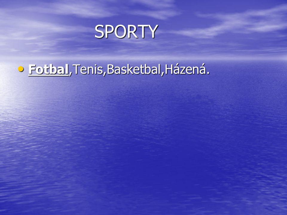 SPORTY Fotbal,Tenis,Basketbal,Házená. Fotbal,Tenis,Basketbal,Házená.