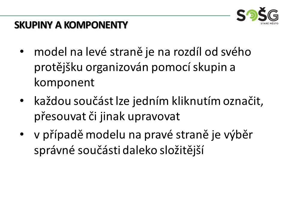 SKUPINY A KOMPONENTY model na levé straně je na rozdíl od svého protějšku organizován pomocí skupin a komponent každou součást lze jedním kliknutím oz
