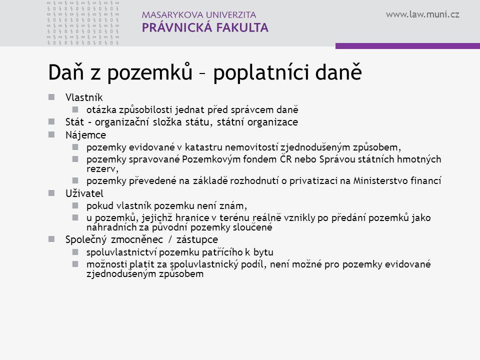 www.law.muni.cz Daň z pozemků – poplatníci daně Vlastník otázka způsobilosti jednat před správcem daně Stát – organizační složka státu, státní organiz