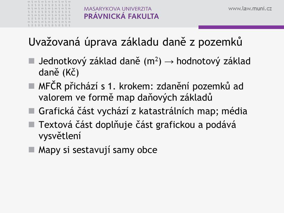 www.law.muni.cz Uvažovaná úprava základu daně z pozemků Jednotkový základ daně (m 2 ) → hodnotový základ daně (Kč) MFČR přichází s 1. krokem: zdanění