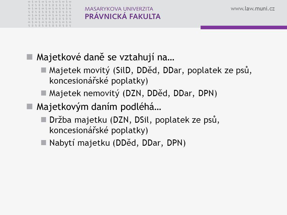 www.law.muni.cz Majetkové daně se vztahují na… Majetek movitý (SilD, DDěd, DDar, poplatek ze psů, koncesionářské poplatky) Majetek nemovitý (DZN, DDěd