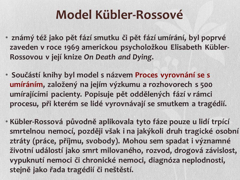 Model Kübler-Rossové známý též jako pět fází smutku či pět fází umírání, byl poprvé zaveden v roce 1969 americkou psycholožkou Elisabeth Kübler- Rosso