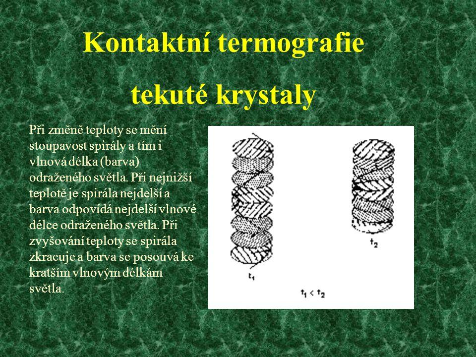 Kontaktní termografie tekuté krystaly Při změně teploty se mění stoupavost spirály a tím i vlnová délka (barva) odraženého světla.
