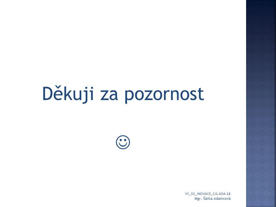 Autor prezentace: Mgr. Šárka Adamcová VY_32_INOVACE_CJ1.ADA.18 Mgr. Šárka Adamcová