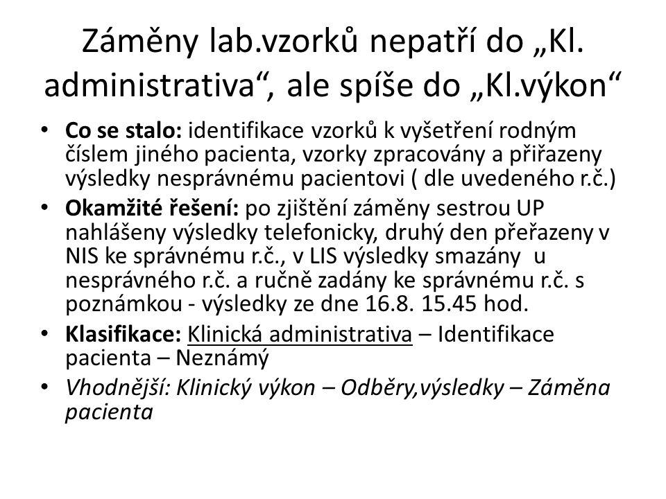"""Záměny lab.vzorků nepatří do """"Kl."""