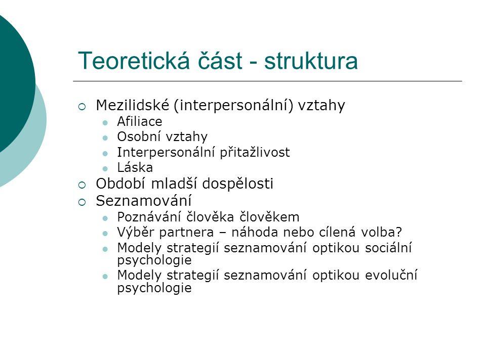 Teoretická část - úskalí  Nejednoznačné definice pojmů v dostupné literatuře (seznamování, volba/výběr partnera, taktika, strategie)