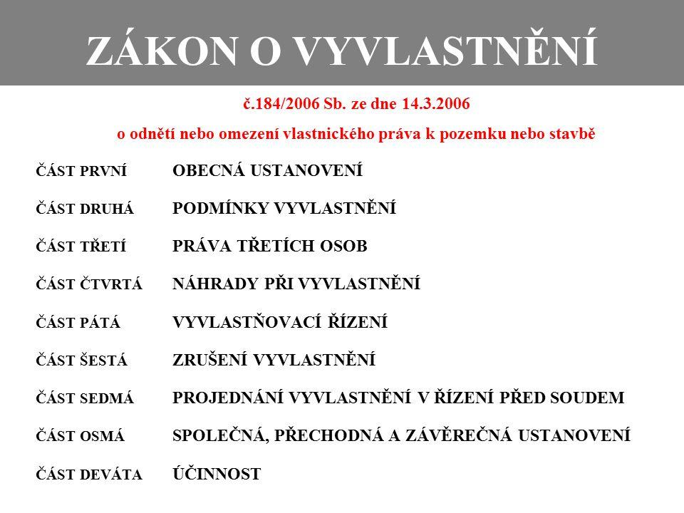 ZÁKON O VYVLASTNĚNÍ č.184/2006 Sb.