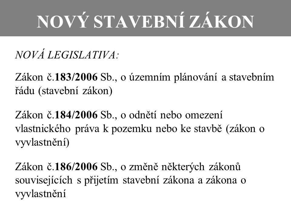 NOVÝ STAVEBNÍ ZÁKON NOVÁ LEGISLATIVA: Zákon č.183/2006 Sb., o územním plánování a stavebním řádu (stavební zákon) Zákon č.184/2006 Sb., o odnětí nebo
