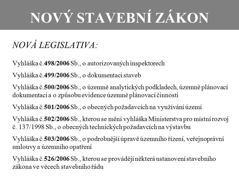 NOVÝ STAVEBNÍ ZÁKON NOVÁ LEGISLATIVA: Vyhláška č.498/2006 Sb., o autorizovaných inspektorech Vyhláška č.499/2006 Sb., o dokumentaci staveb Vyhláška č.500/2006 Sb., o územně analytických podkladech, územně plánovací dokumentaci a o způsobu evidence územně plánovací činnosti Vyhláška č.501/2006 Sb., o obecných požadavcích na využívání území Vyhláška č.502/2006 Sb., kterou se mění vyhláška Ministerstva pro místní rozvoj č.