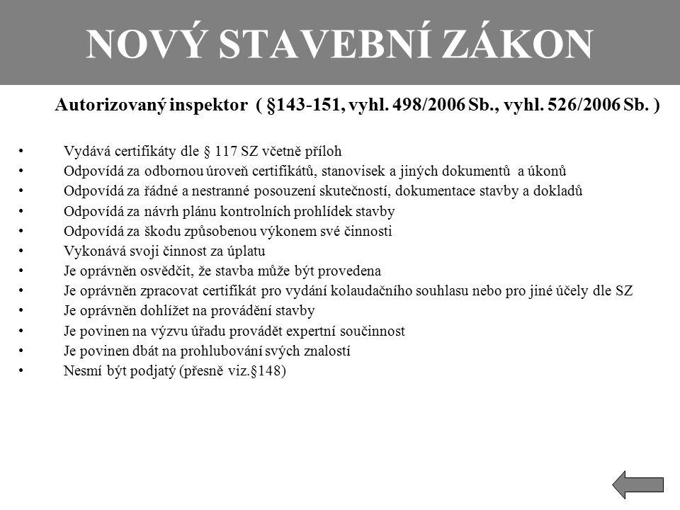 NOVÝ STAVEBNÍ ZÁKON Autorizovaný inspektor ( §143-151, vyhl. 498/2006 Sb., vyhl. 526/2006 Sb. ) Vydává certifikáty dle § 117 SZ včetně příloh Odpovídá