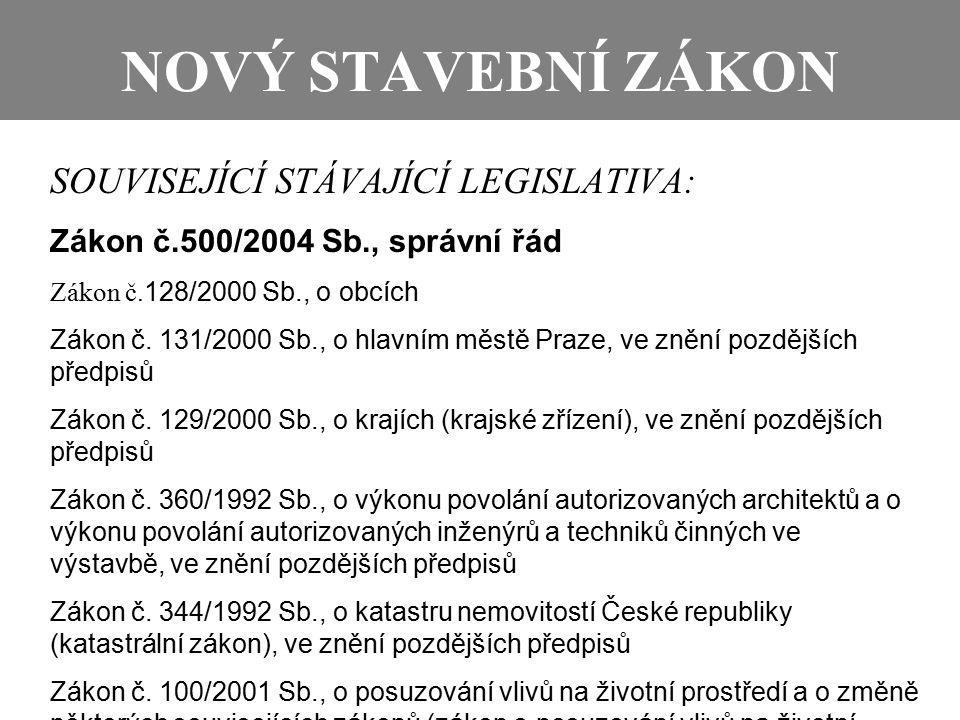 NOVÝ STAVEBNÍ ZÁKON SOUVISEJÍCÍ STÁVAJÍCÍ LEGISLATIVA: Zákon č.500/2004 Sb., správní řád Zákon č. 128/2000 Sb., o obcích Zákon č. 131/2000 Sb., o hlav