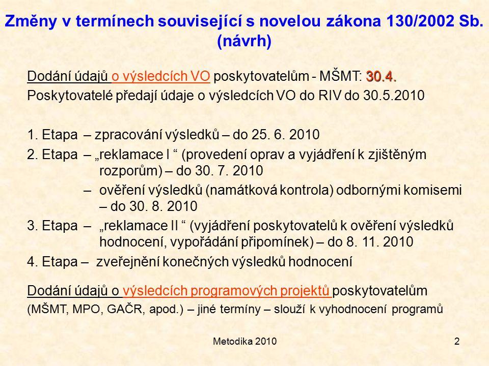 Metodika 20102 Změny v termínech související s novelou zákona 130/2002 Sb.