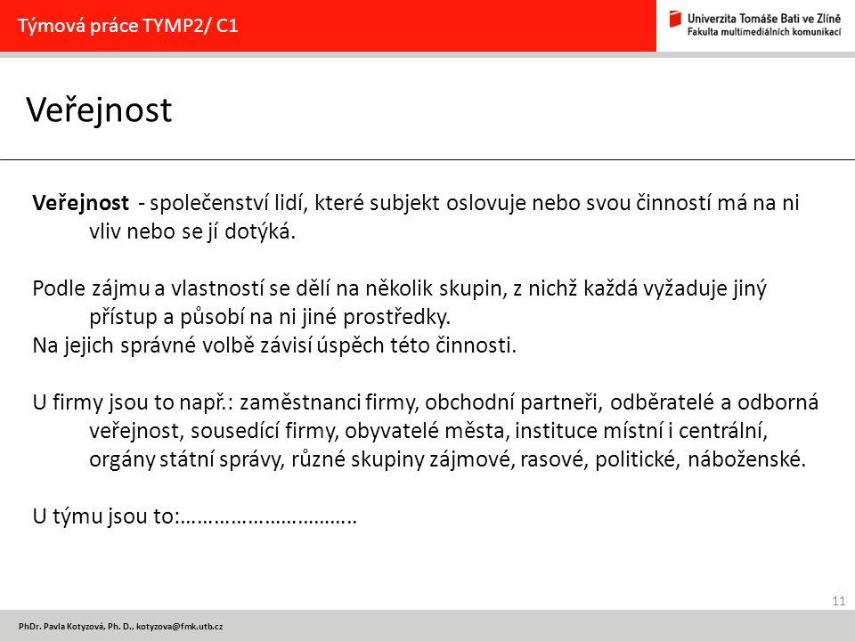 11 PhDr. Pavla Kotyzová, Ph. D., kotyzova@fmk.utb.cz Veřejnost Týmová práce TYMP2/ C1 Veřejnost - společenství lidí, které subjekt oslovuje nebo svou