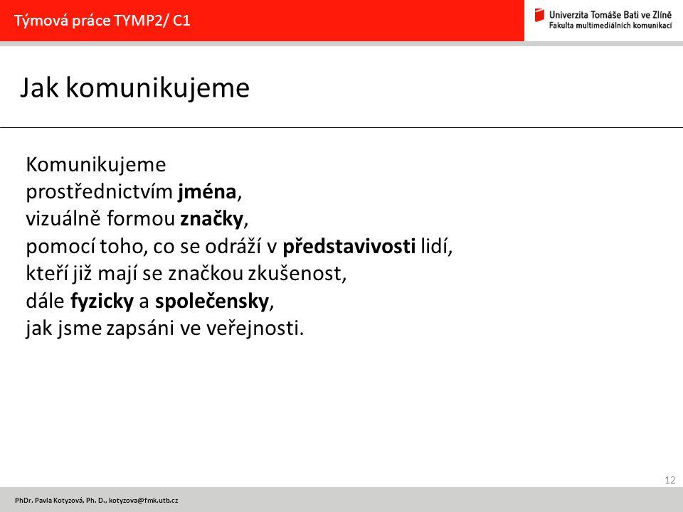 12 PhDr. Pavla Kotyzová, Ph. D., kotyzova@fmk.utb.cz Jak komunikujeme Týmová práce TYMP2/ C1 Komunikujeme prostřednictvím jména, vizuálně formou značk