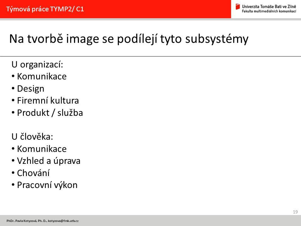 19 PhDr. Pavla Kotyzová, Ph. D., kotyzova@fmk.utb.cz Na tvorbě image se podílejí tyto subsystémy Týmová práce TYMP2/ C1 U organizací: Komunikace Desig
