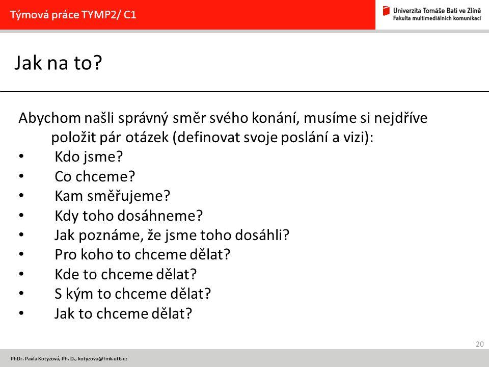 20 PhDr. Pavla Kotyzová, Ph. D., kotyzova@fmk.utb.cz Jak na to.