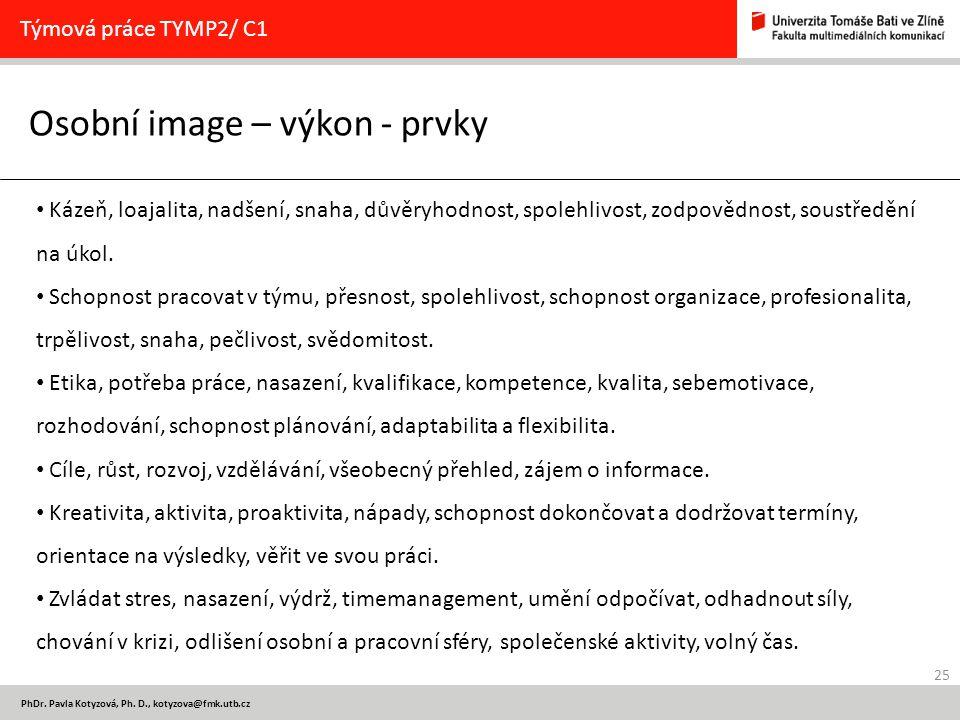 25 PhDr. Pavla Kotyzová, Ph. D., kotyzova@fmk.utb.cz Osobní image – výkon - prvky Týmová práce TYMP2/ C1 Kázeň, loajalita, nadšení, snaha, důvěryhodno