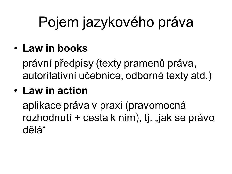 Pojem jazykového práva Law in books právní předpisy (texty pramenů práva, autoritativní učebnice, odborné texty atd.) Law in action aplikace práva v praxi (pravomocná rozhodnutí + cesta k nim), tj.