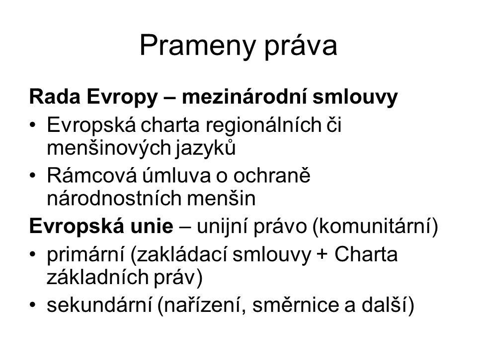 Prameny práva Rada Evropy – mezinárodní smlouvy Evropská charta regionálních či menšinových jazyků Rámcová úmluva o ochraně národnostních menšin Evropská unie – unijní právo (komunitární) primární (zakládací smlouvy + Charta základních práv) sekundární (nařízení, směrnice a další)
