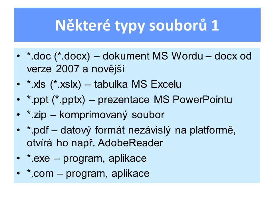 *.doc (*.docx) – dokument MS Wordu – docx od verze 2007 a novější *.xls (*.xslx) – tabulka MS Excelu *.ppt (*.pptx) – prezentace MS PowerPointu *.zip – komprimovaný soubor *.pdf – datový formát nezávislý na platformě, otvírá ho např.